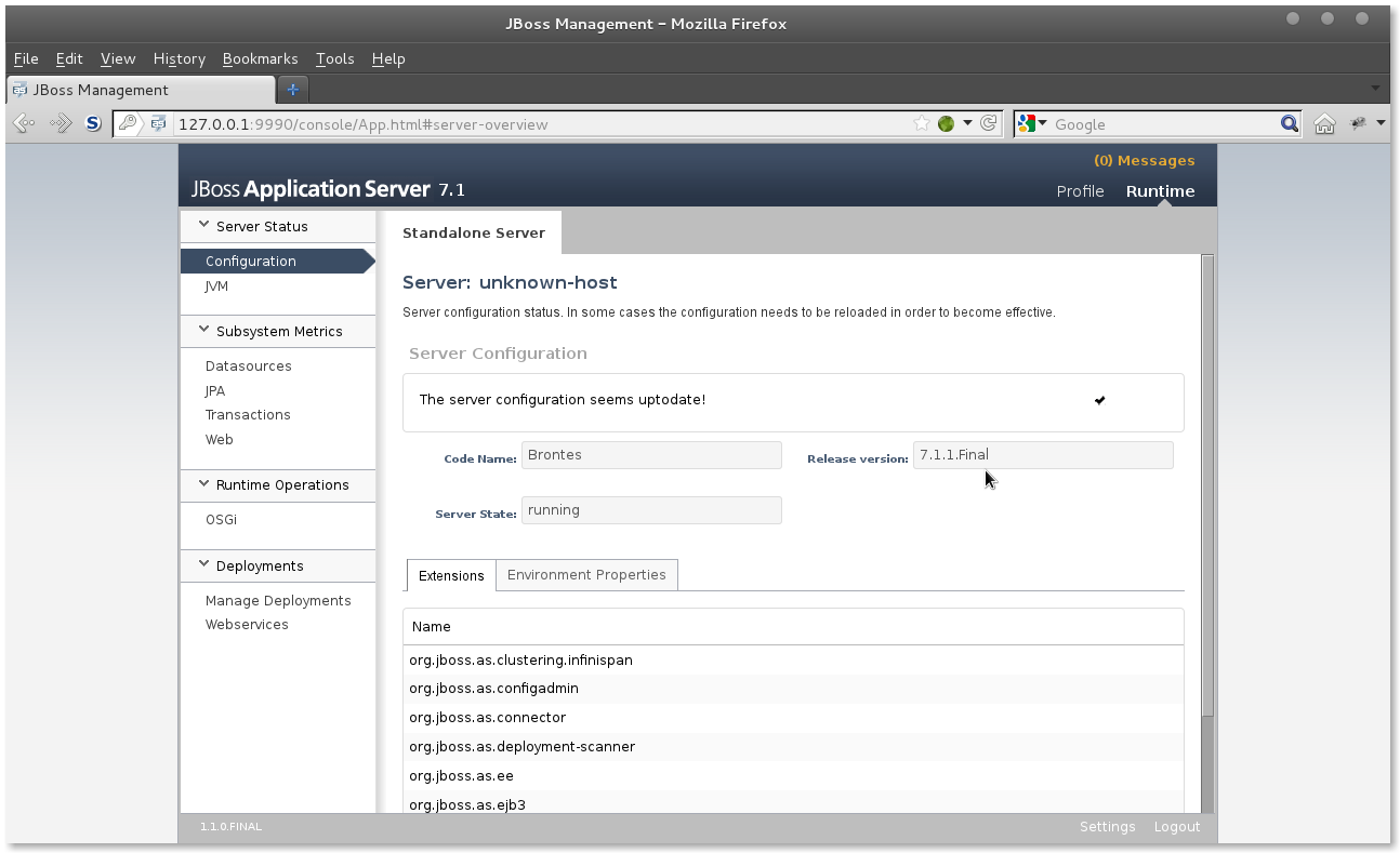 JBoss AS 7 Administration Console