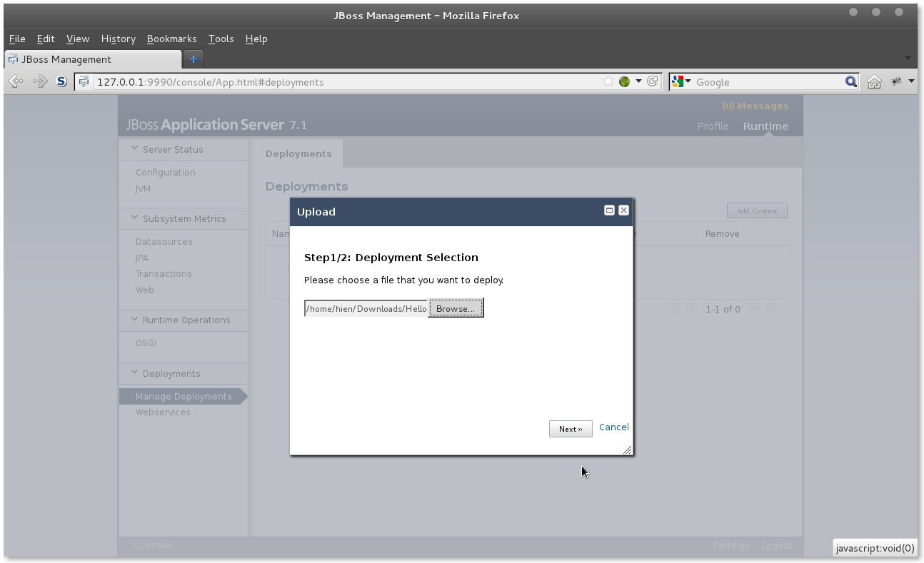 JBoss AS 7 Deploy App step 1
